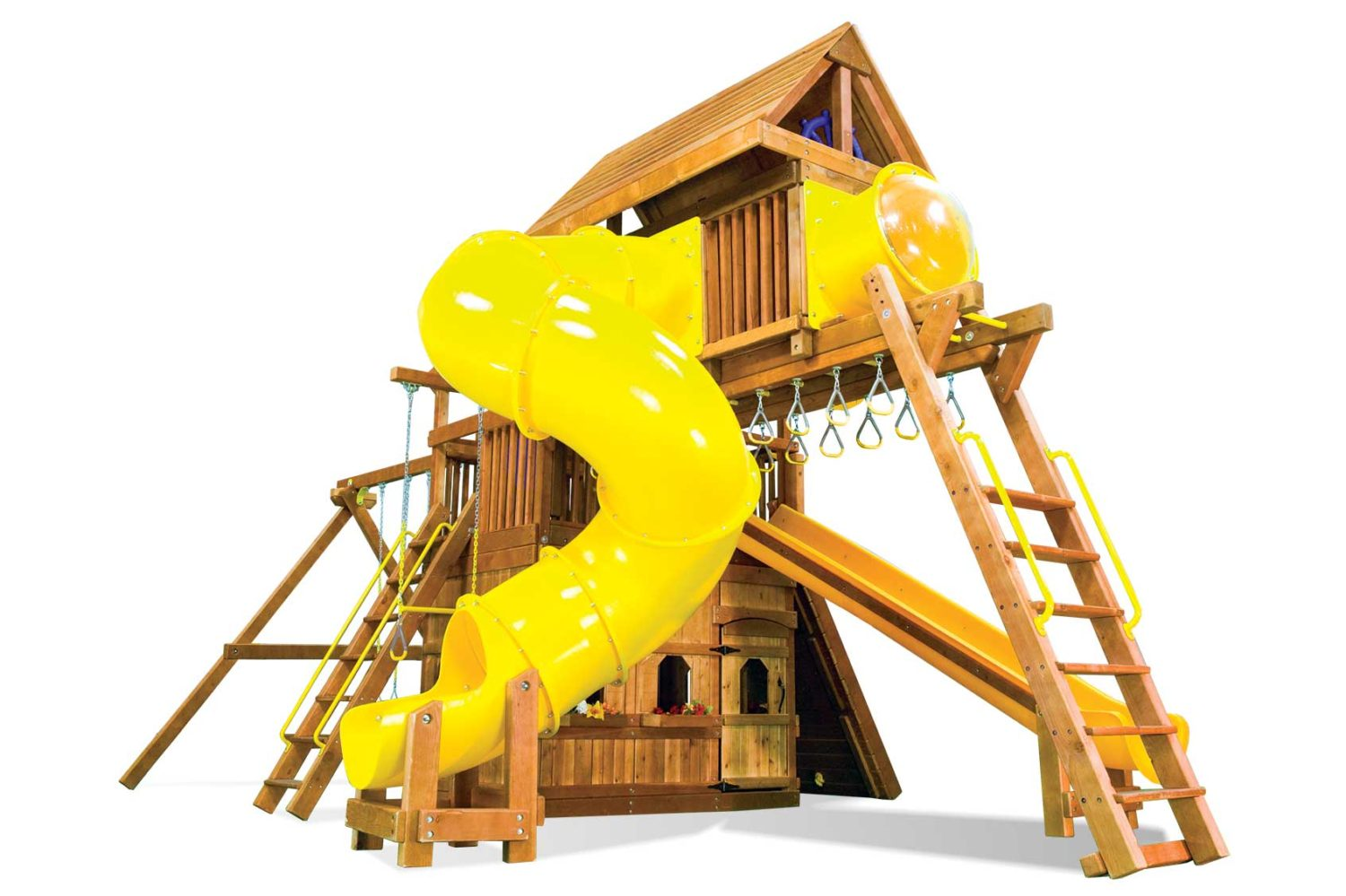 Huckleberry Hideout Pkg V Maxed Out Special Order Wooden Swing Set