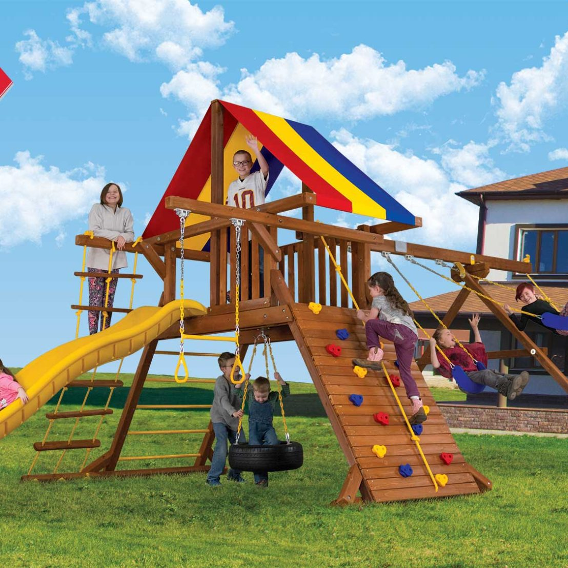 All About Wooden Swing Sets Rainbow Midwest Kidskunst Info