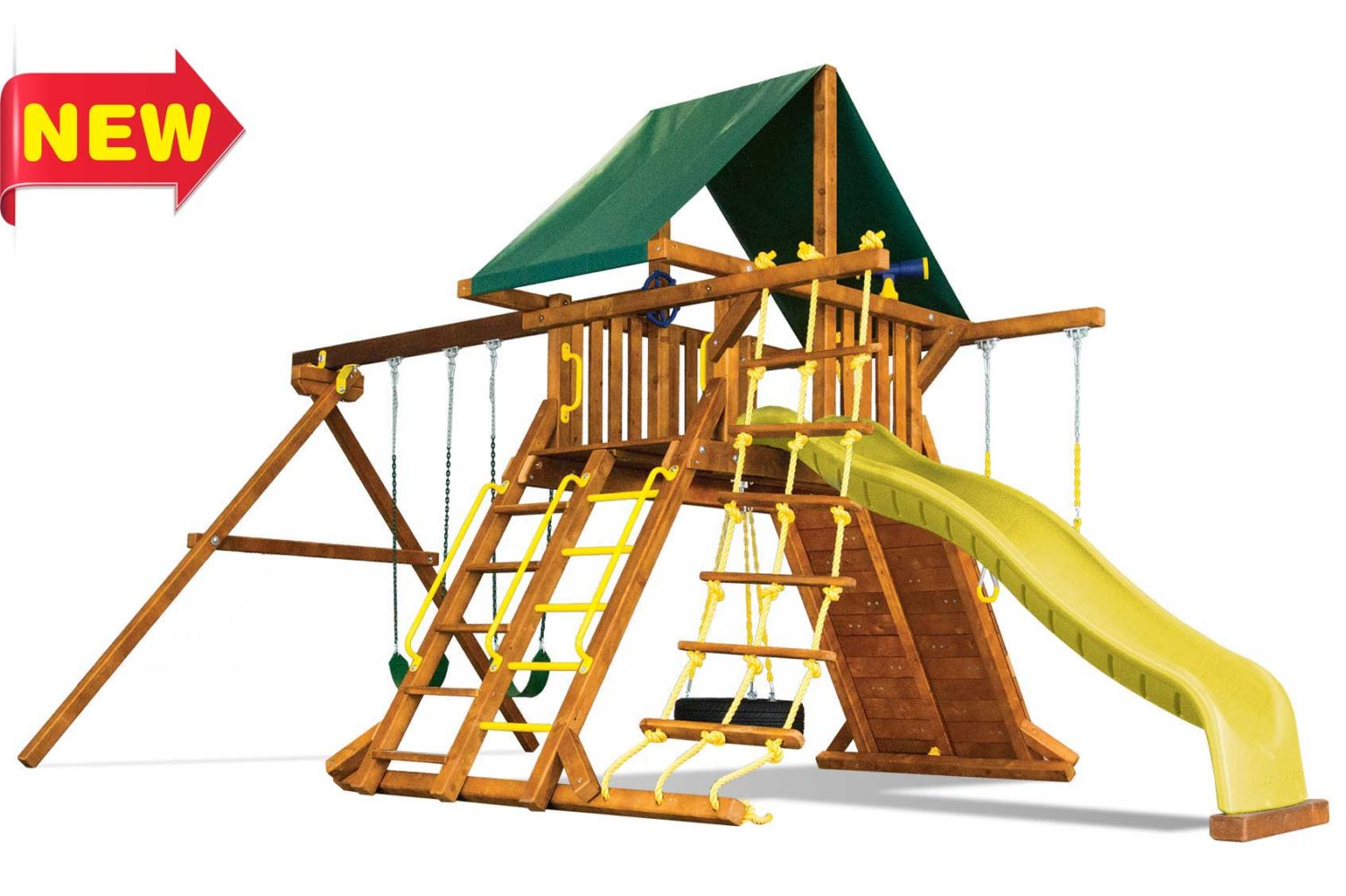 Circus Turbo Castle Pkg II with 2 Position Swing Beam Wooden Swing Set