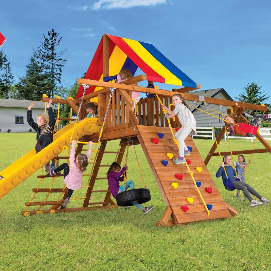 Circus Turbo Castle Pkg II with Scoop Slide Wooden Swing Set