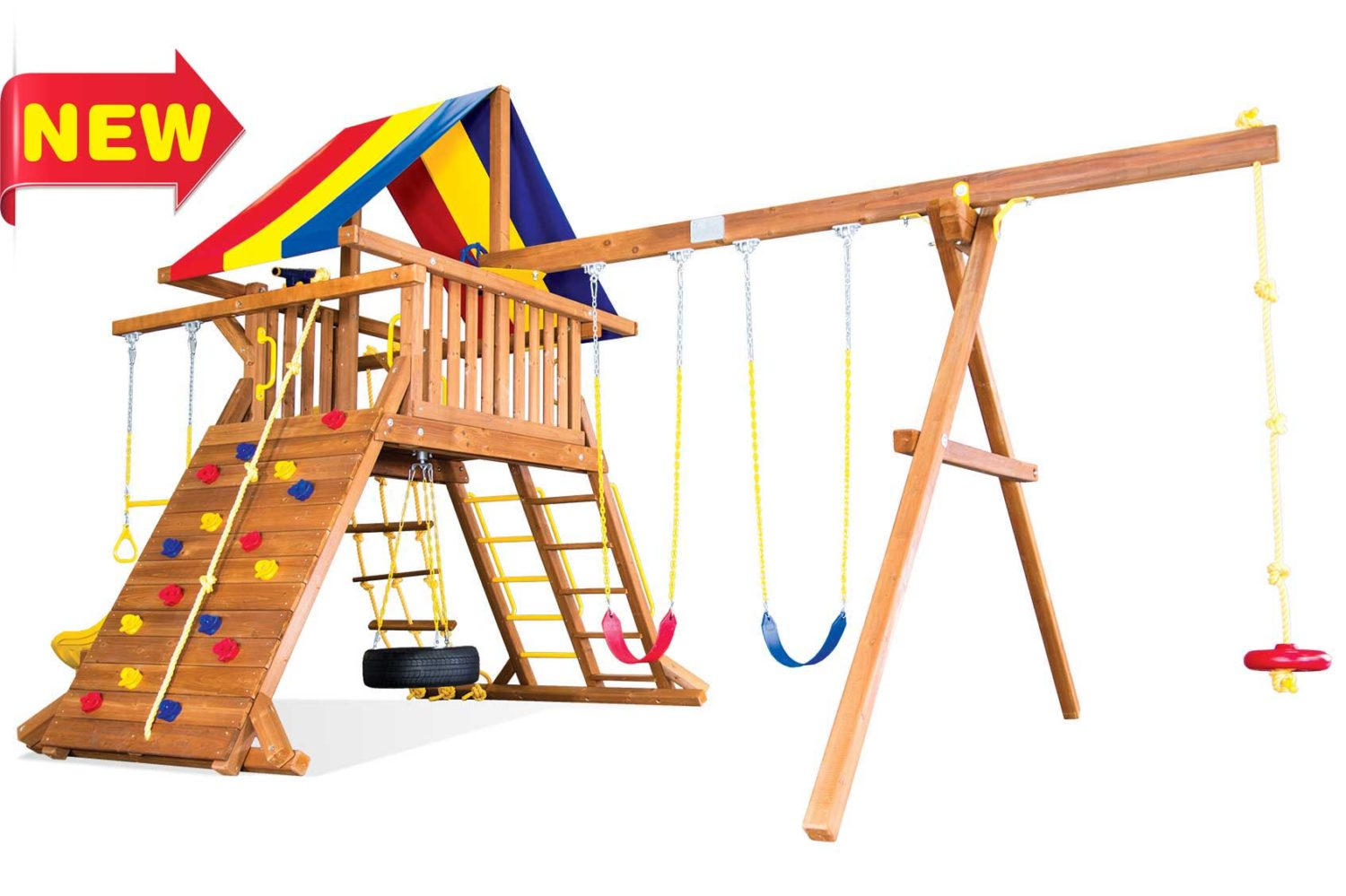 Circus Turbo Castle Pkg II with Kids Slide Wooden Swing Sets