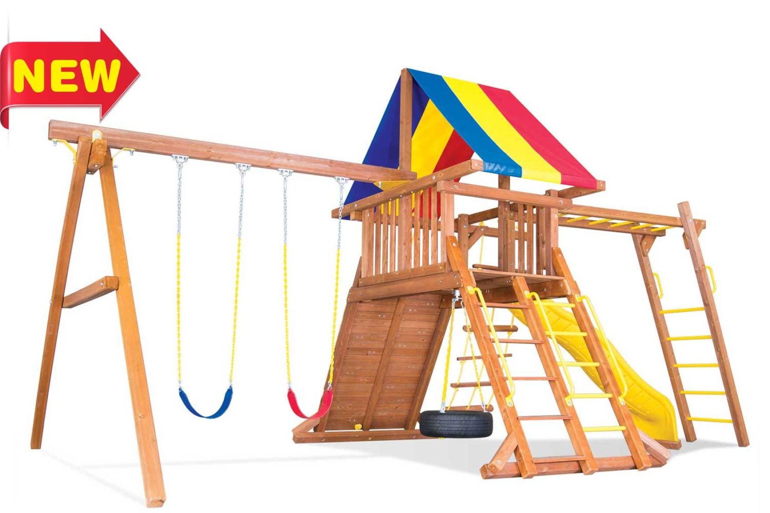 Circus Turbo Base Castle Pkg III with 4 by 4 Monkey Bars Wooden Swing Set