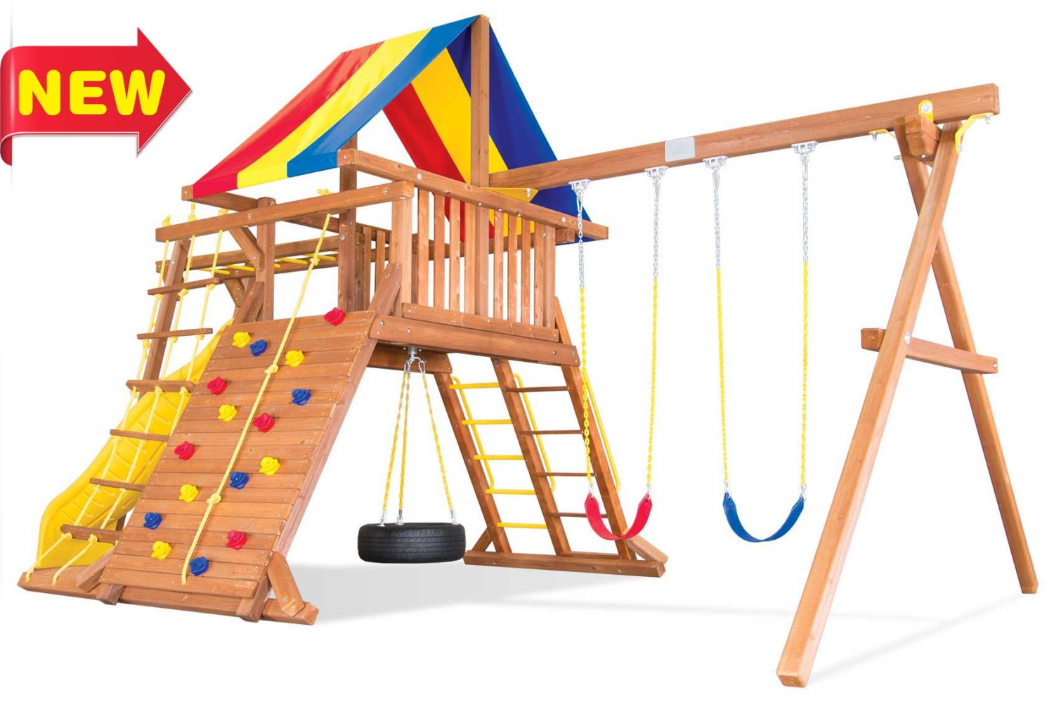 Circus Turbo Castle Pkg III with Monkey Bars Wooden Swing Set
