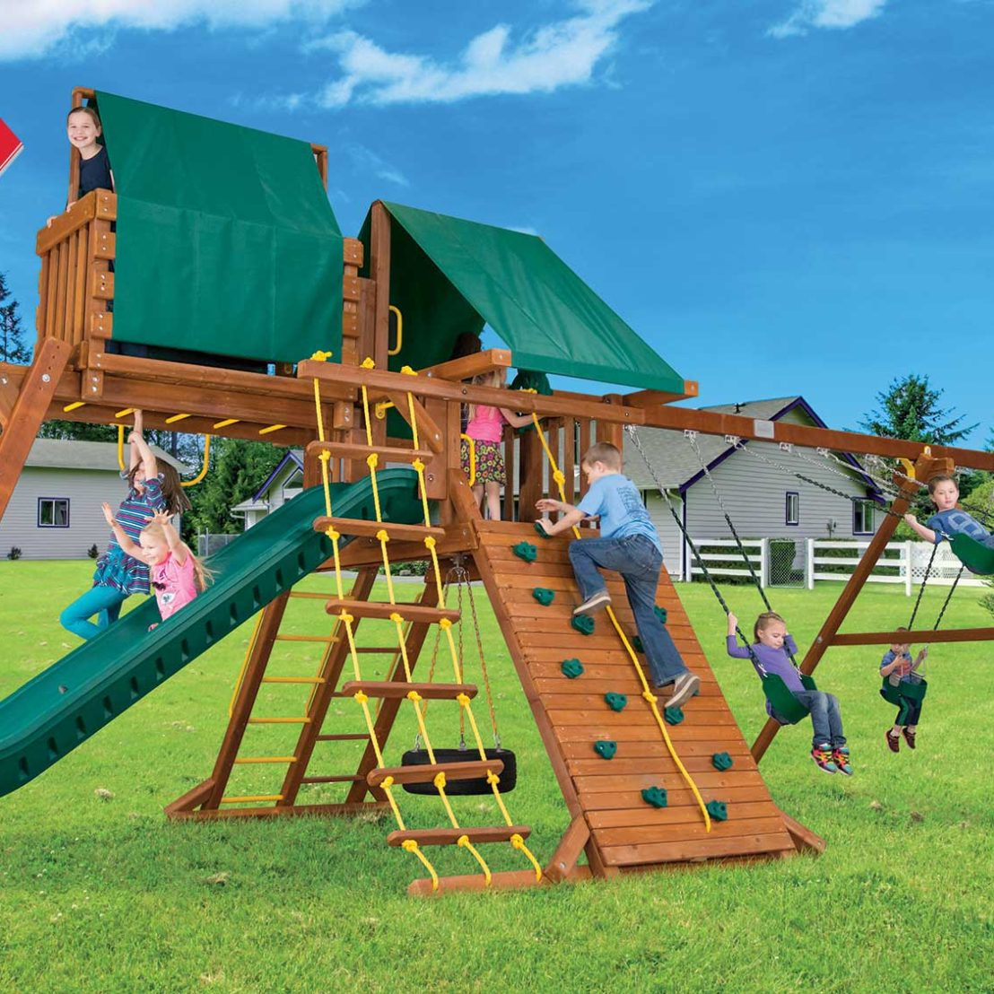 Circus Super Turbo Castle Pkg IV Loaded Wooden Swing Set