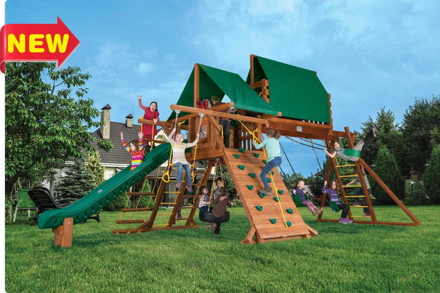 Circus Super Turbo Castle with 3 Position Swing Beam Wooden Swing Set
