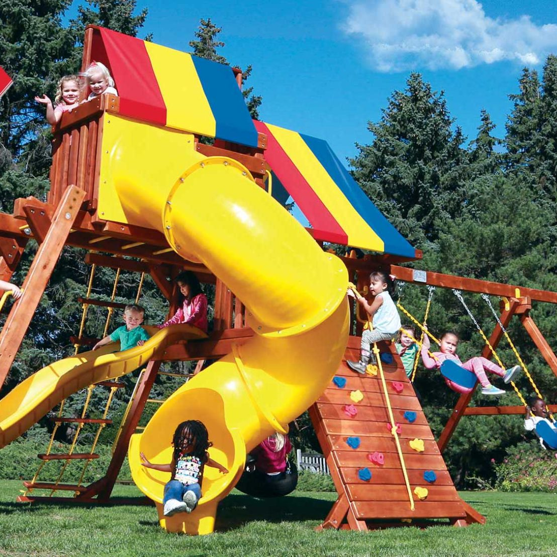Circus Turbo Castle Pkg V Wooden Swing Sets