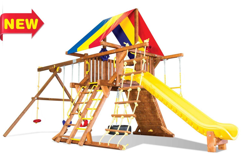 Sunshine Turbo Feature Castle Pkg II Wooden Swing Sets