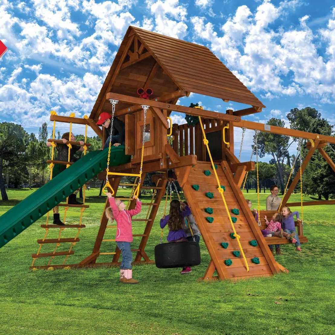 Sunshine Super Turbo Castle Pkg II with Wood Roofs Wooden Swing Set