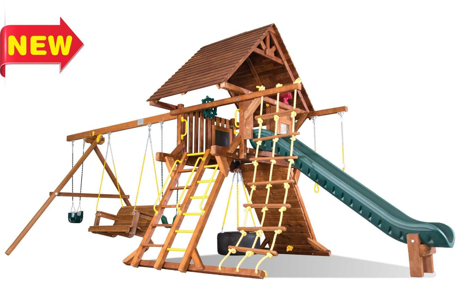 Sunshine Super Turbo Castle Pkg II Wooden Swing Sets