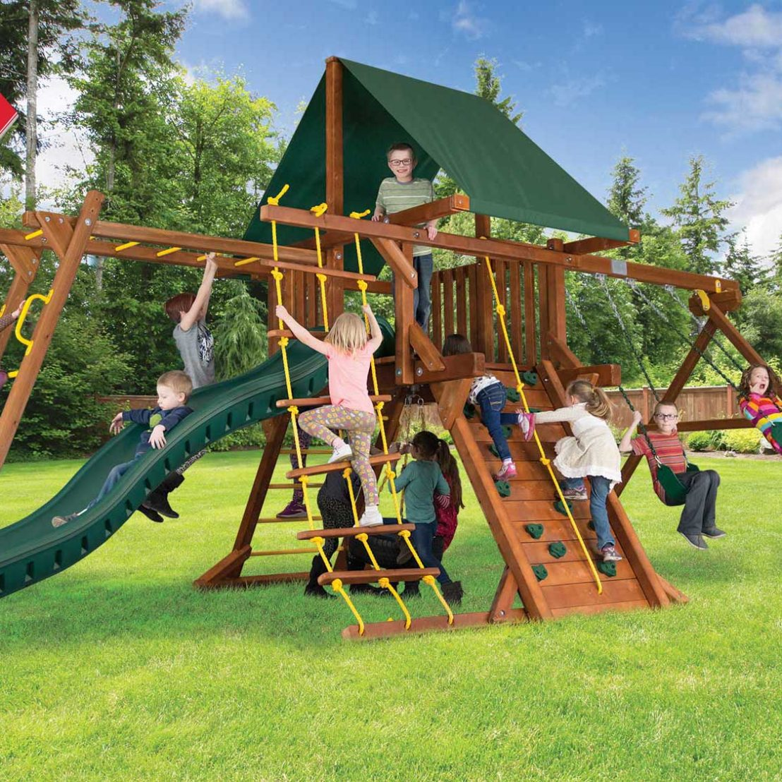 Sunshine Base Castle Pkg II with 4 by 4 Monkey Bars Wooden Swing Set