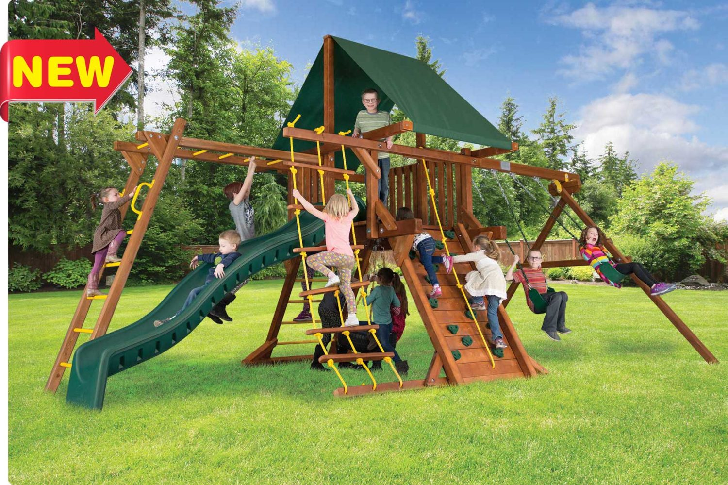 Sunshine Castle Pkg II with Monkey Bars Wooden Swing Set