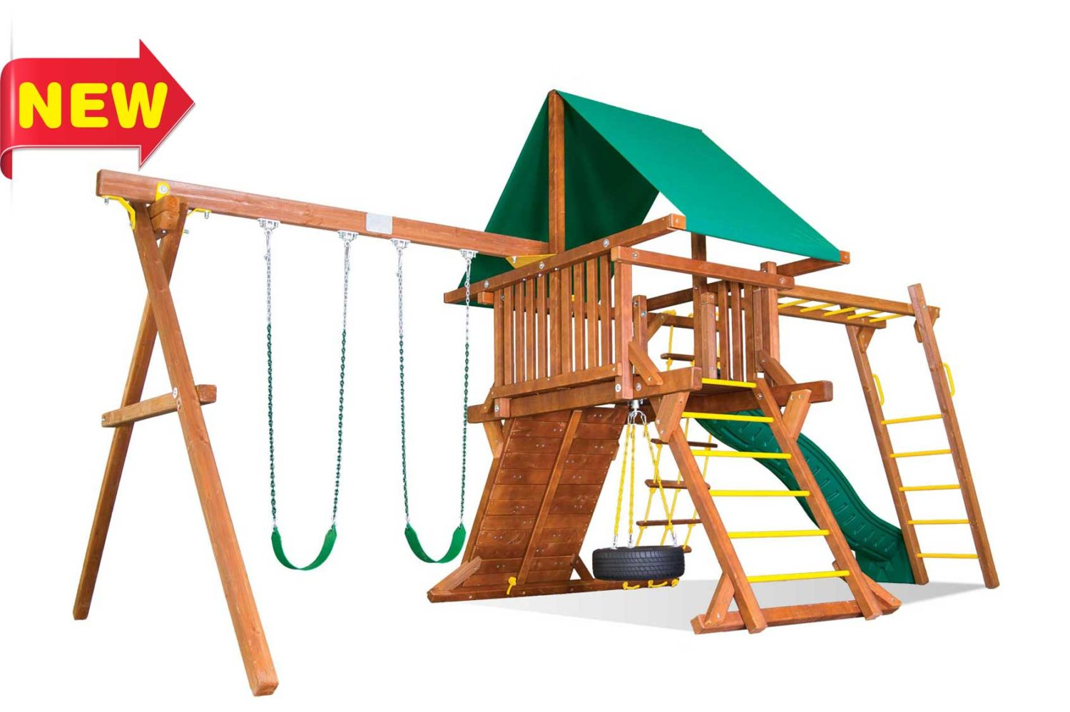 Sunshine Castle Pkg II with Monkey Bars Wooden Swing Sets