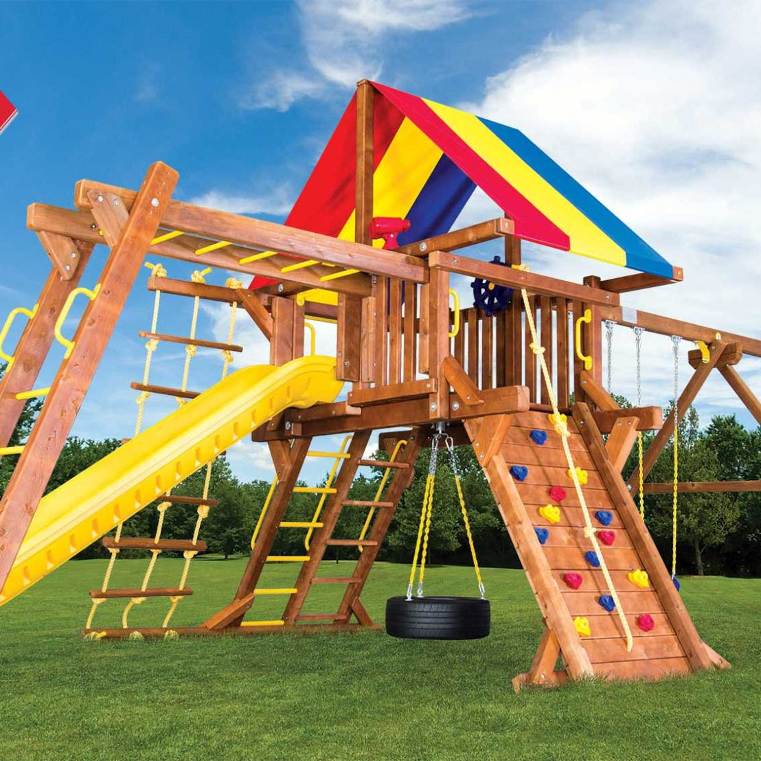 Sunshine Turbo Castle Pkg III Wooden Swing Set