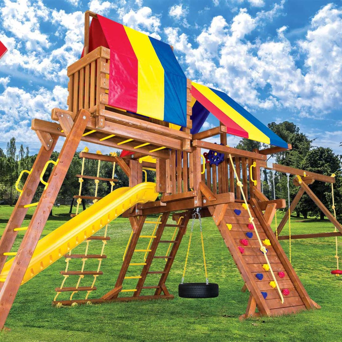 Sunshine Super Turbo Castle Pkg IV Wooden Swing Set