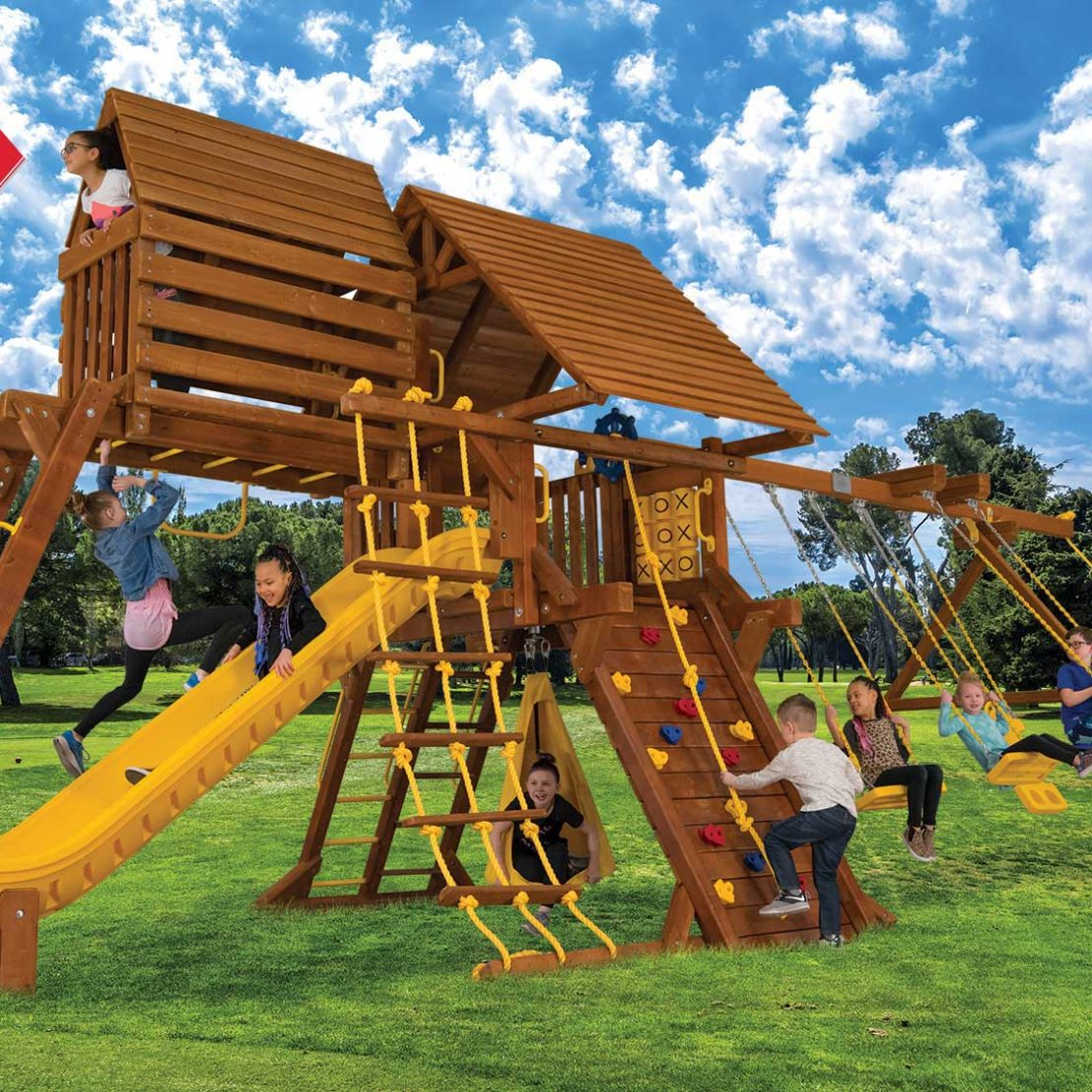 Sunshine Turbo Castle Pkg IV Wooden Swing Sets