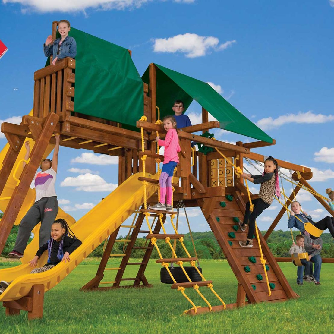 Sunshine Turbo Castle Pkg V Wooden Swing Set