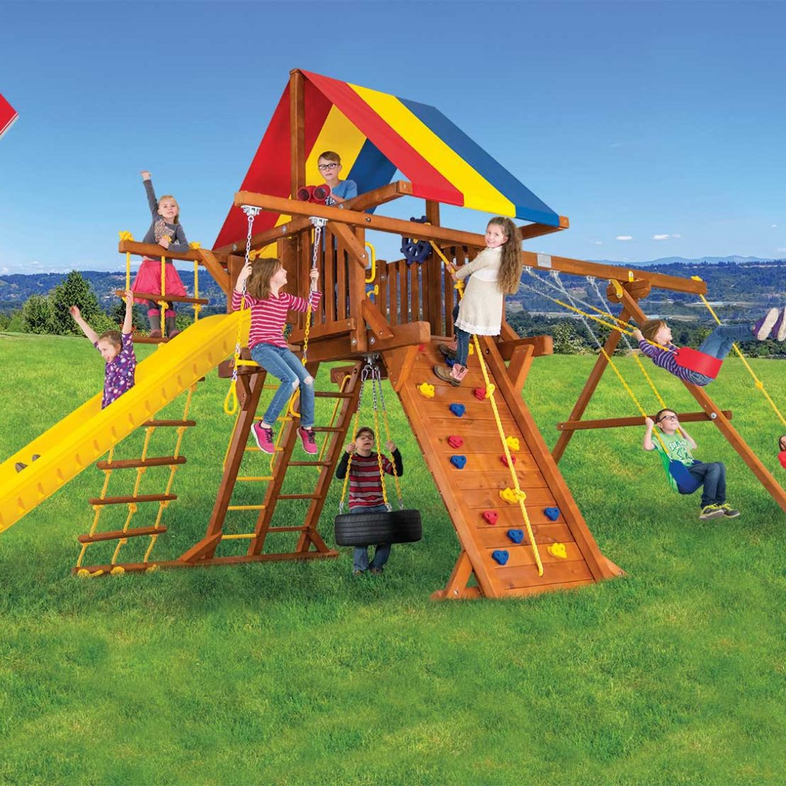 Sunshine Super Turbo Spotlight Castle Pkg II Wooden Swing Set