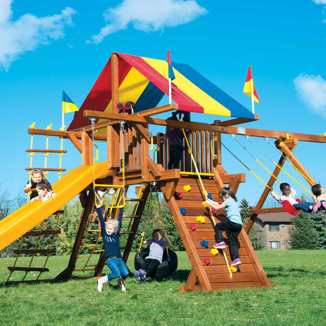 Rainbow Turbo Feature Castle Pkg II Wooden Swing Set
