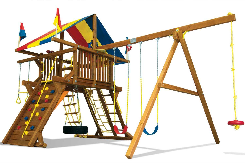 Rainbow Turbo Feature Castle Pkg II Wooden Swing Set