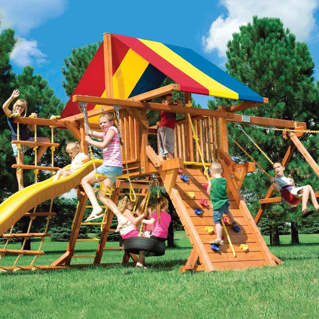 Rainbow Base Castle Pkg II Wooden Swing Set