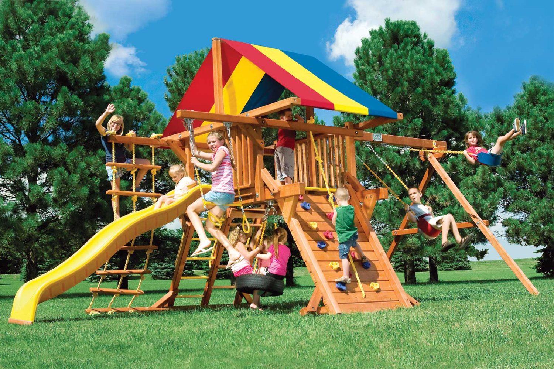 Rainbow Base Castle Pkg II Wooden Swing Set