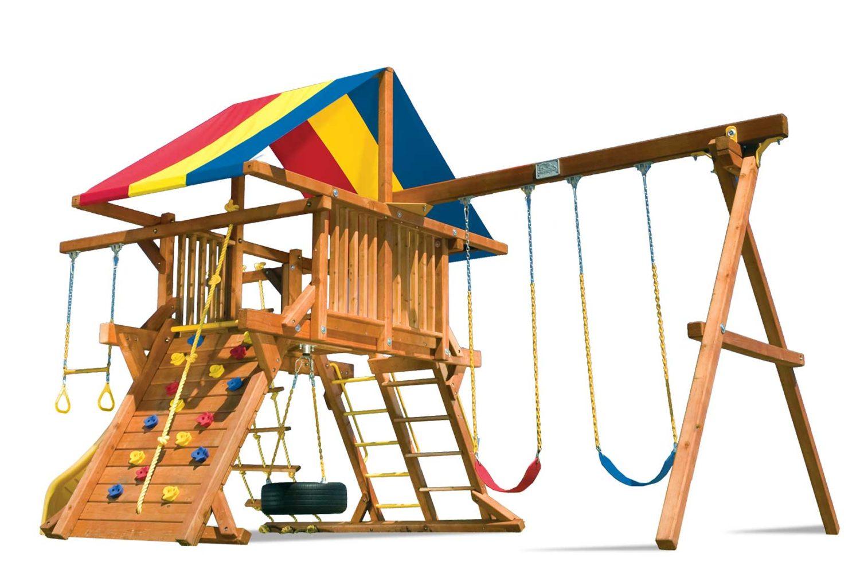 Rainbow Castle Pkg II Wooden Swing Set