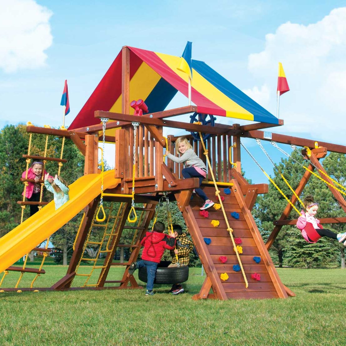 Rainbow Castle Pkg II Wooden Swing Set