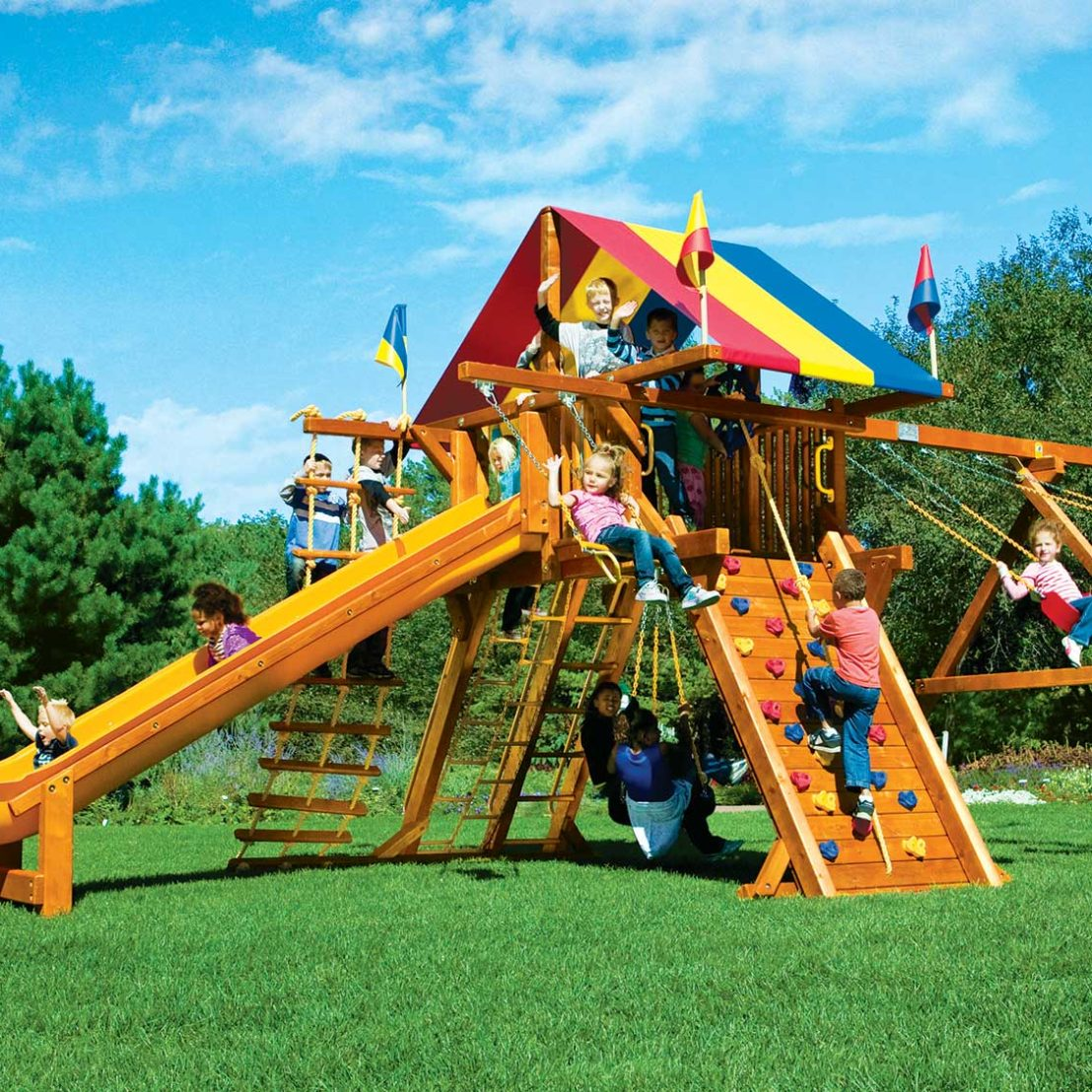 Rainbow Super Turbo Castle Pkg II Wooden Swing Set