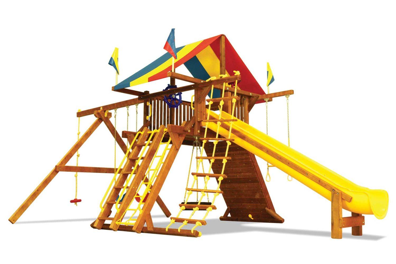 Rainbow Super Turbo Castle Pkg II Wooden Swing Set