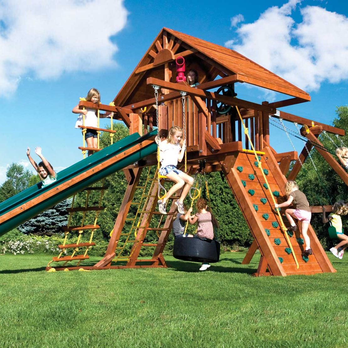 Rainbow Super Turbo Castle Pkg II with Wood Roof Wooden Swing Set