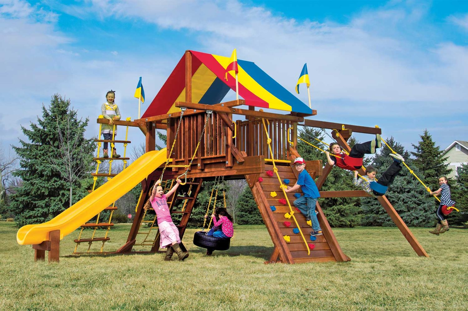 Rainbow Turbo Castle Pkg II Supersized Wooden Swing Set