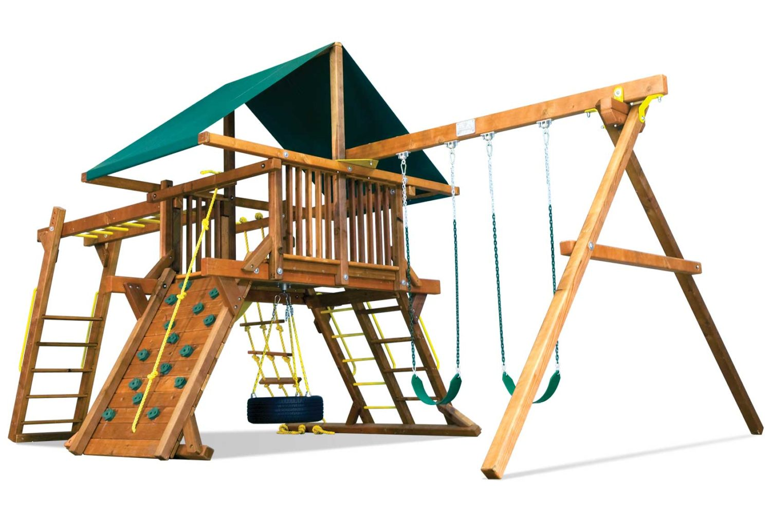 Rainbow Base Castle Pkg III Wooden Swing Set
