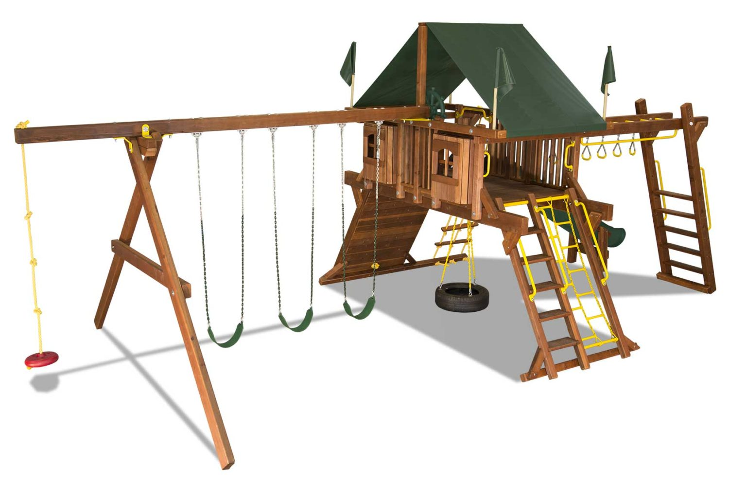 Rainbow Turbo Castle Pkg III Supersized and Nicely Equipped Wooden Swing Set