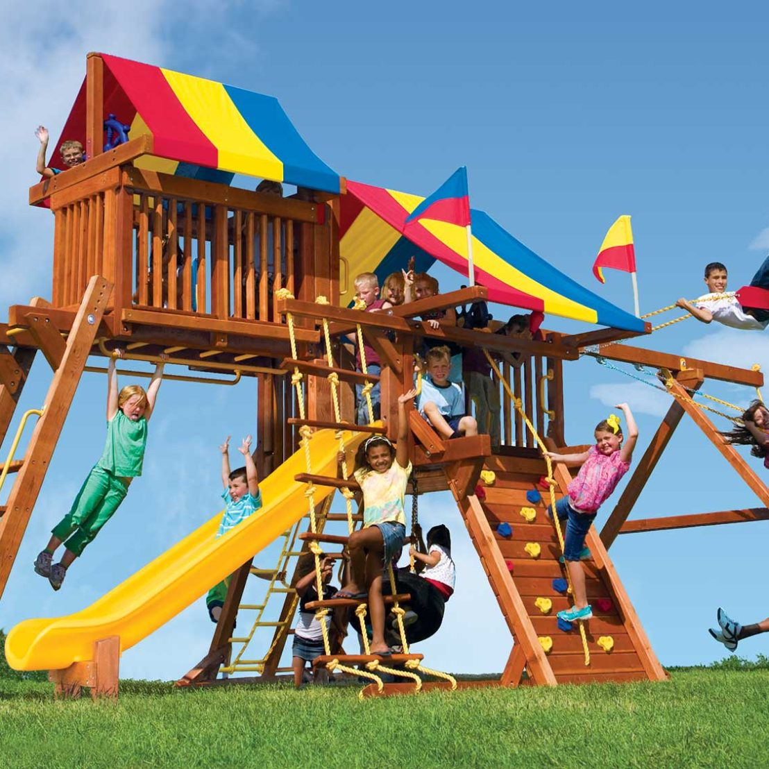 Rainbow Castle Pkg IV Loaded Wooden Swing Set