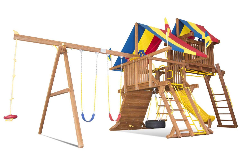 Rainbow Castle Pkg IV Loaded Wooden Swing Set
