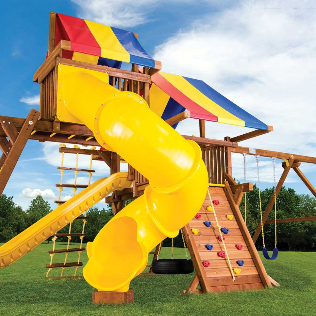 Rainbow Turbo Castle Pkg V with 270 Spiral Slide Wooden Swing Set