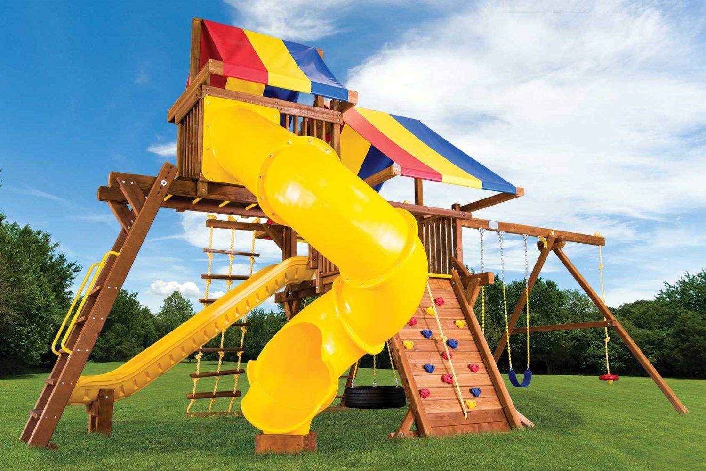 Rainbow Turbo Castle Pkg V with 270 Spiral Slide Wooden Swing Set
