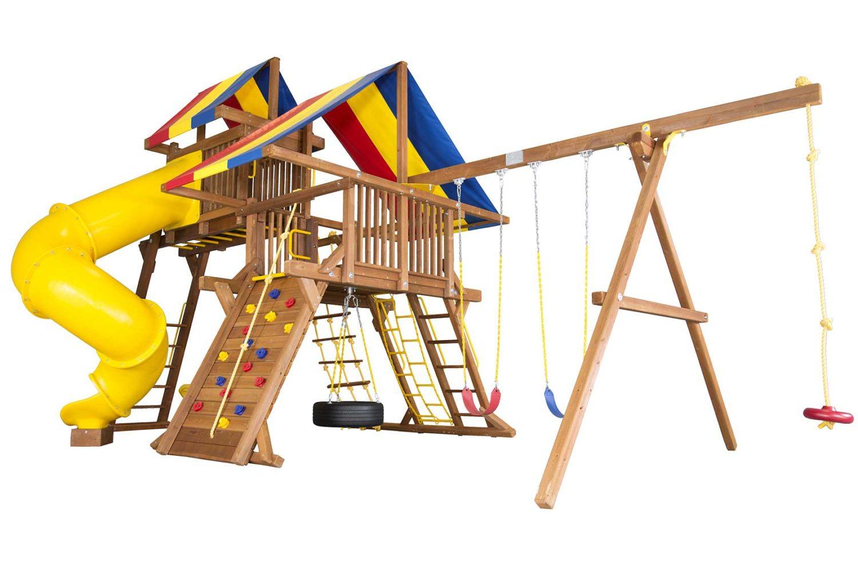 Rainbow Turbo Castle Pkg V with 270 Degree Spiral Slide Wooden Swing Set