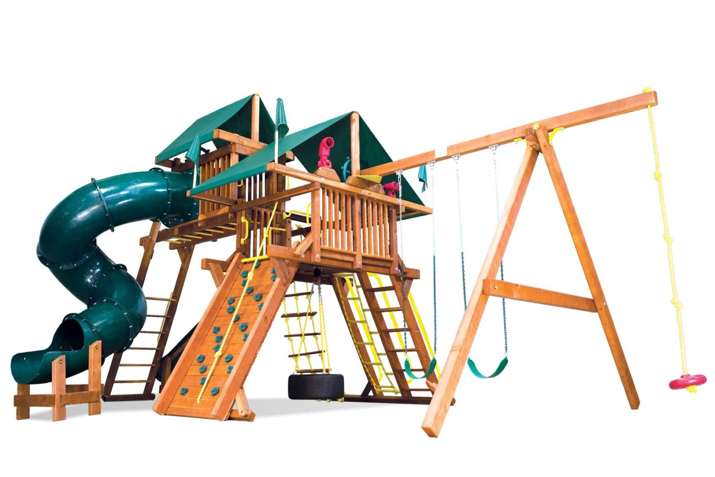Rainbow Super Turbo Castle Pkg V Loaded Wooden Swing Set