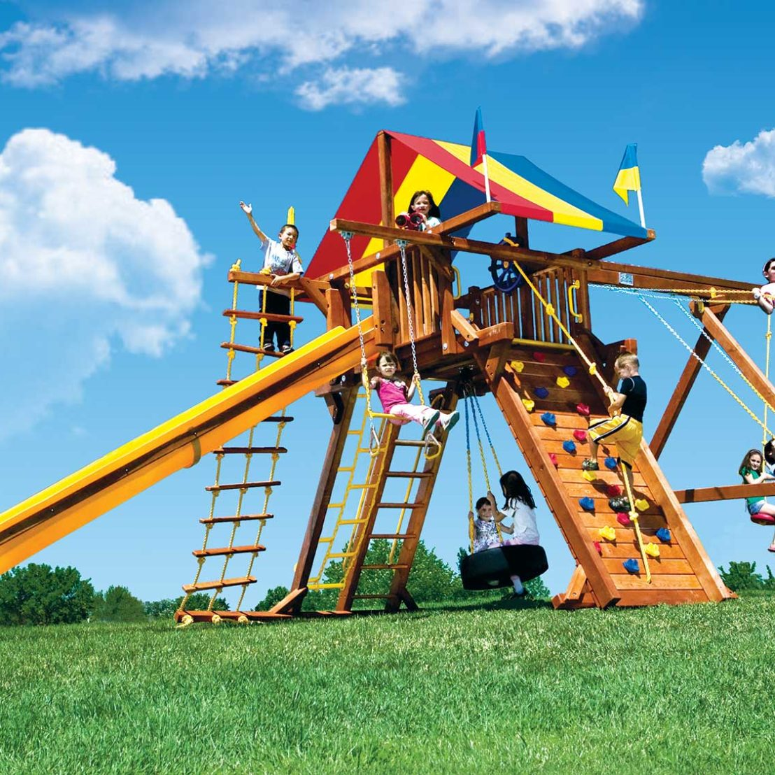 King Kong Feature Castle Pkg II Wooden Swing Set