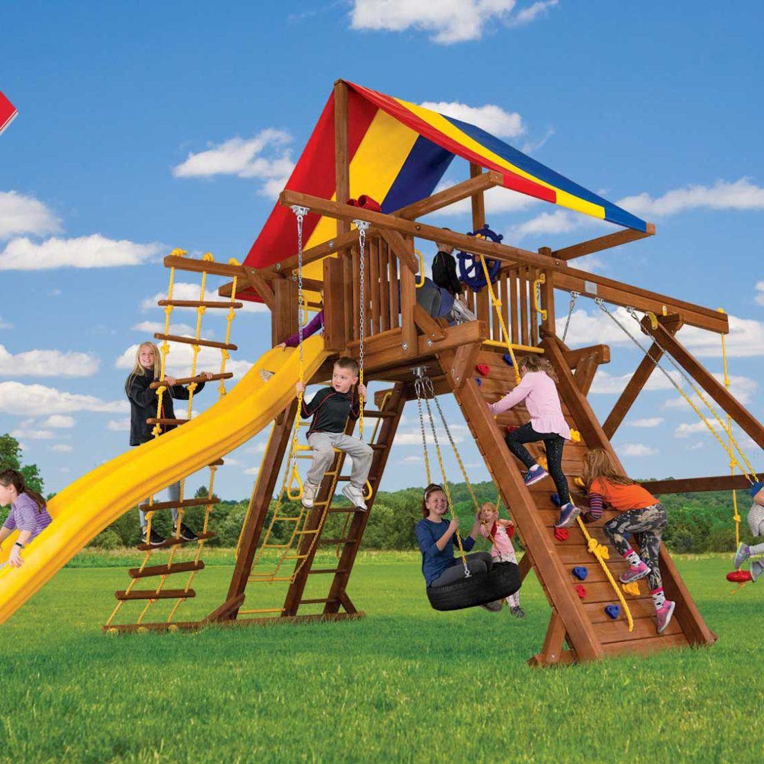 King Kong Base Castle Pkg II Wooden Swing Set