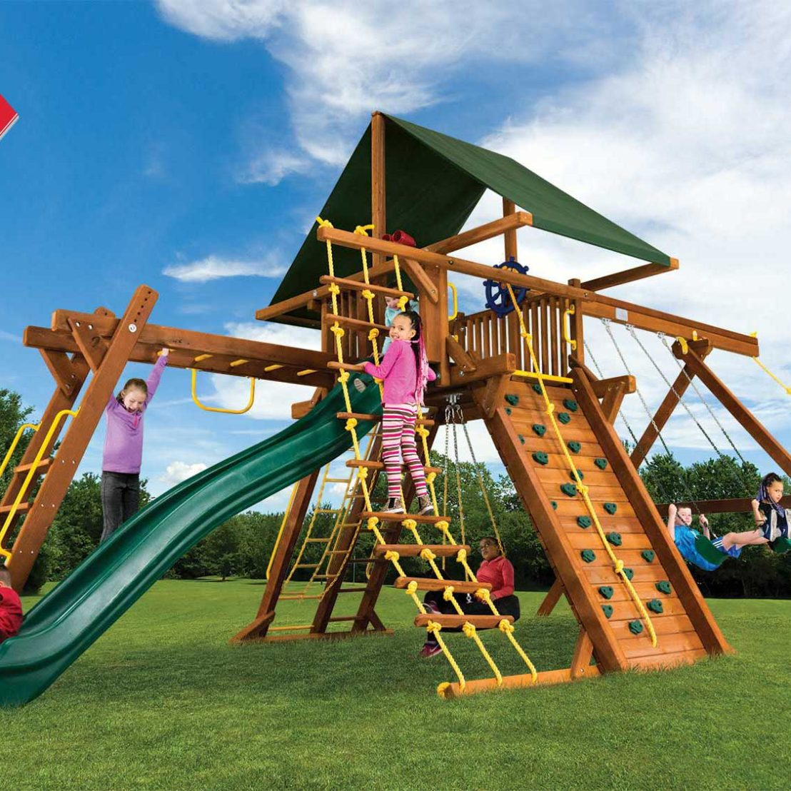 King Kong Base Castle Pkg III Wooden Swing Set