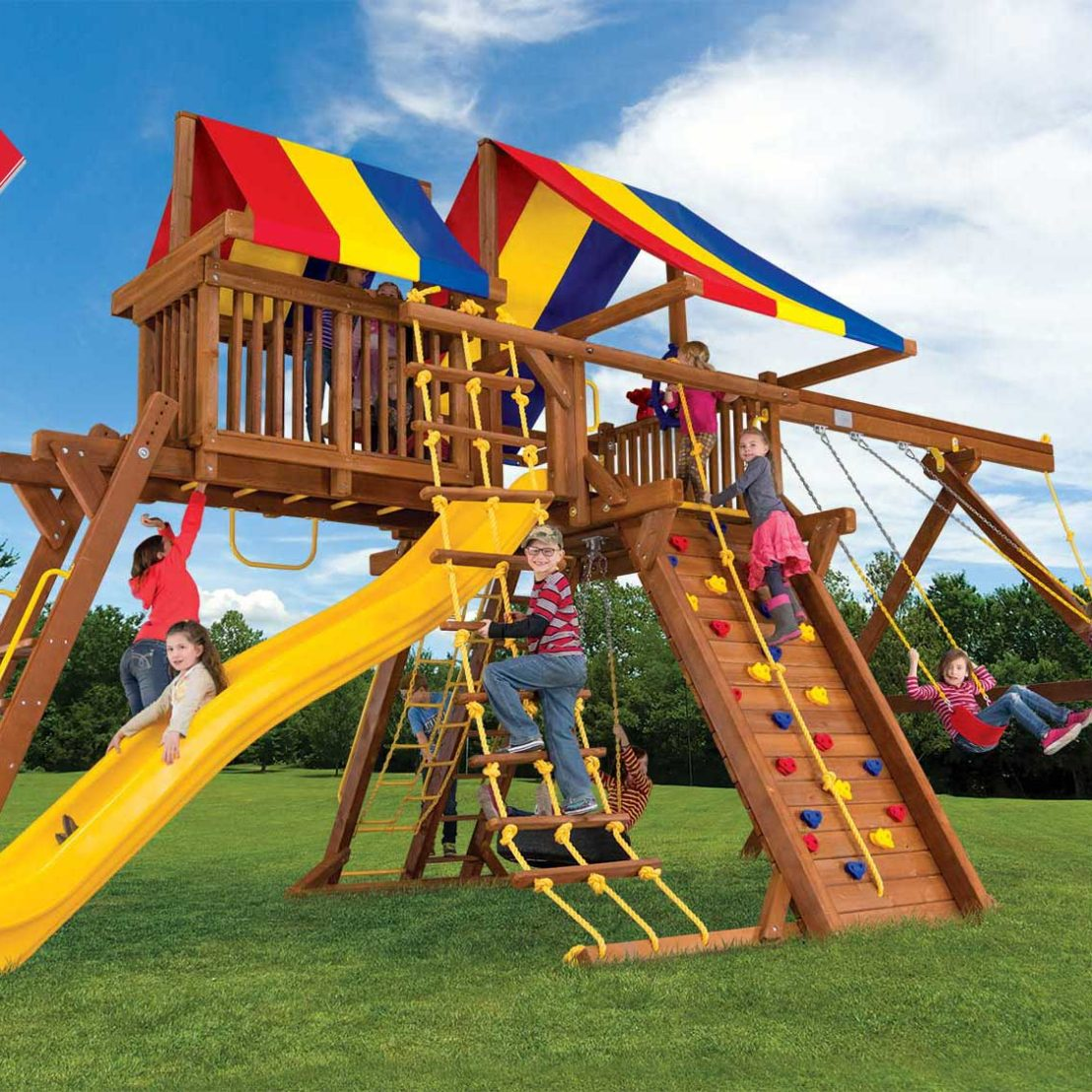 King Kong Base Castle Pkg IV Wooden Swing Set