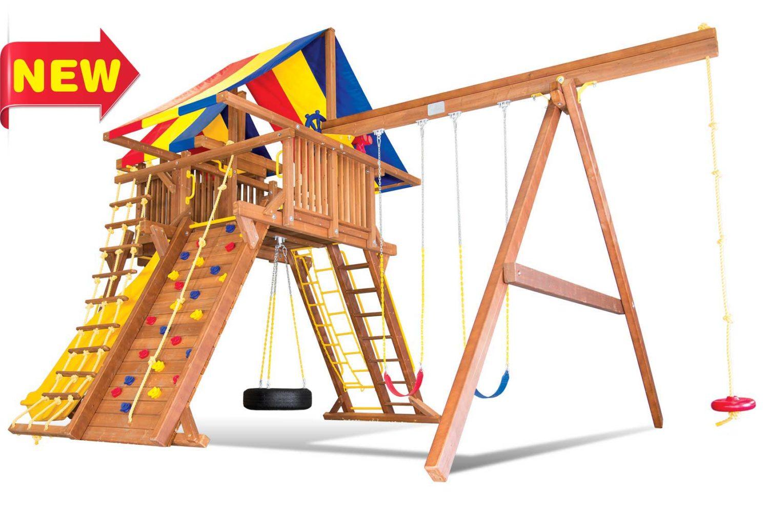 King Kong Castle Pkg IV Wooden Swing Sets