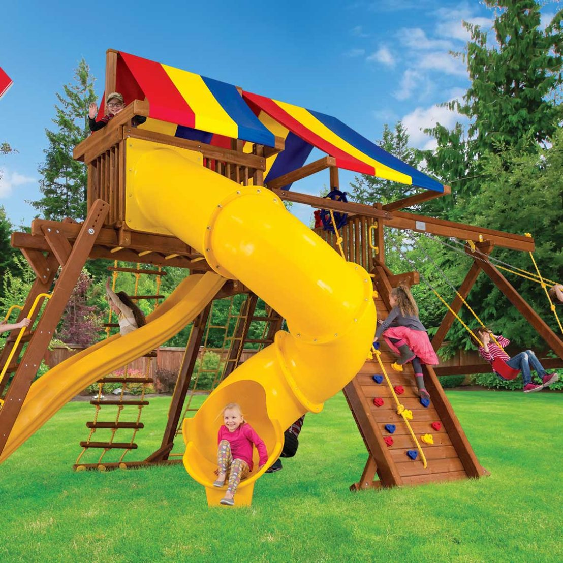 King Kong Base Castle Pkg V Wooden Swing Set