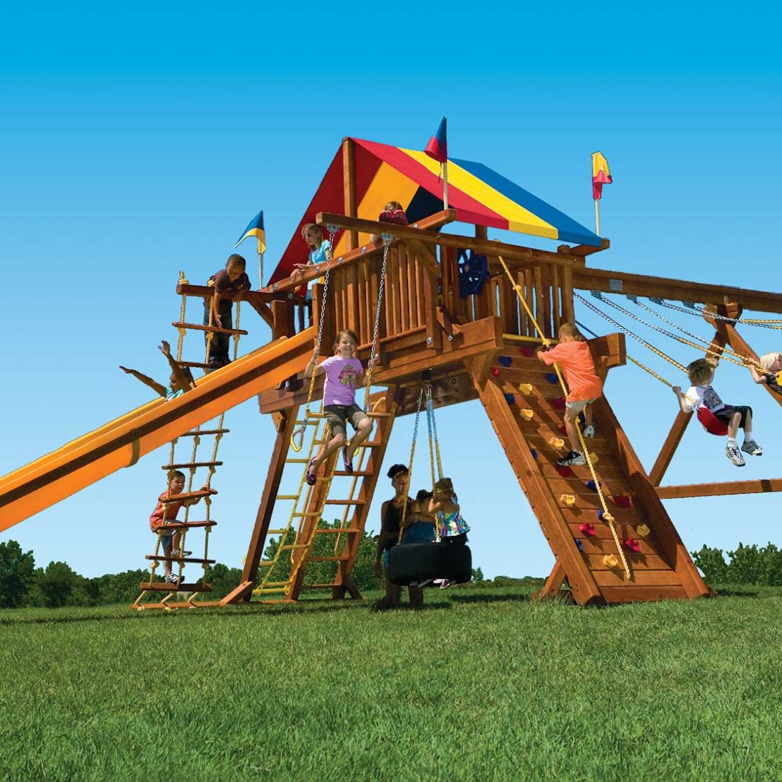 King Kong Castle Pkg II Loaded and Supersized Wooden Swing Set
