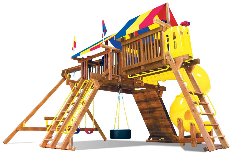 King Kong Castle Supersized Pkg IV Spacesaver Wooden Swing Set