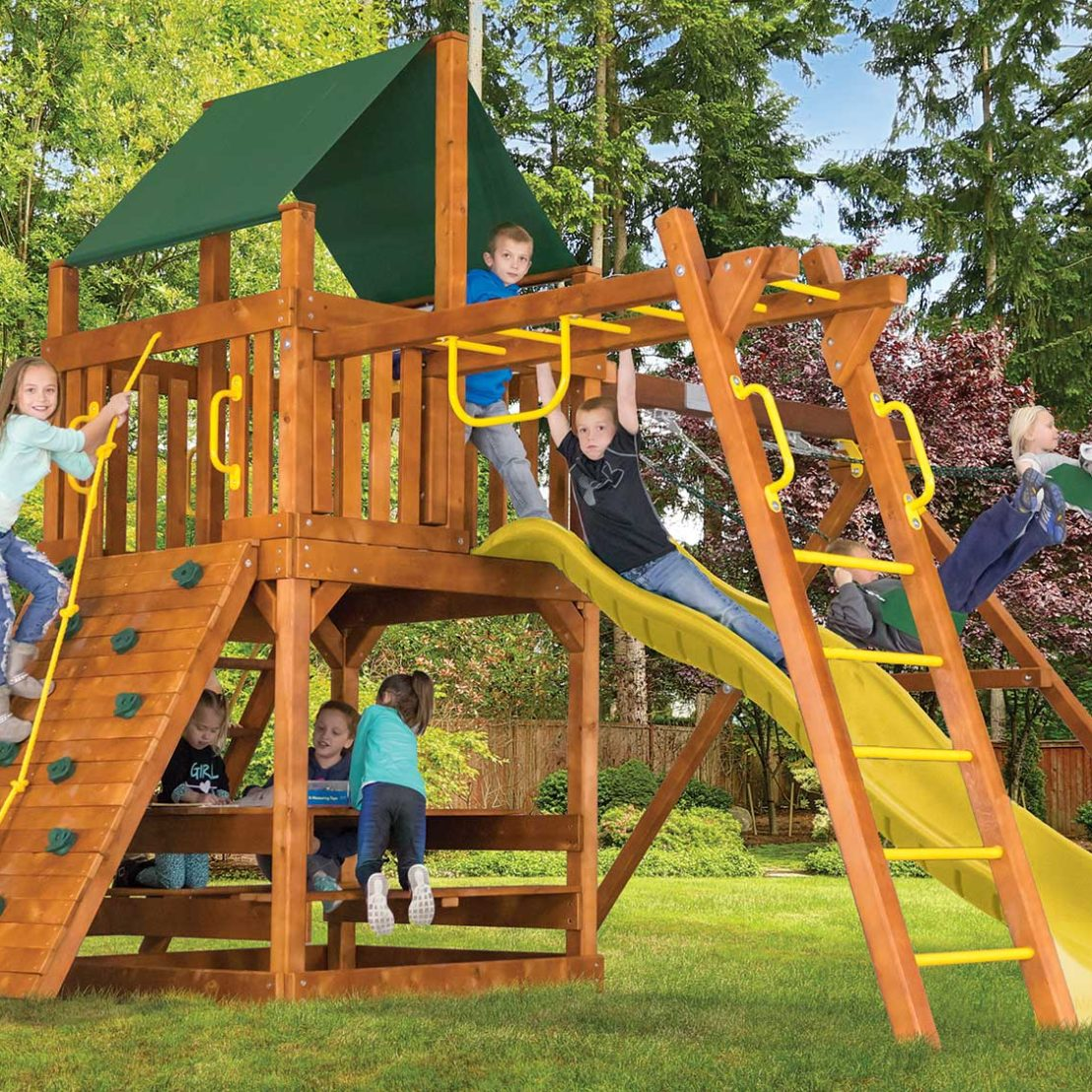 Fiesta Clubhouse Pkg III Loaded Wooden Swing Set
