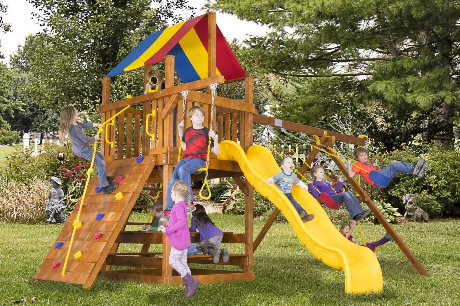 Carnival Feature Clubhouse Pkg II Wooden Swing Sets
