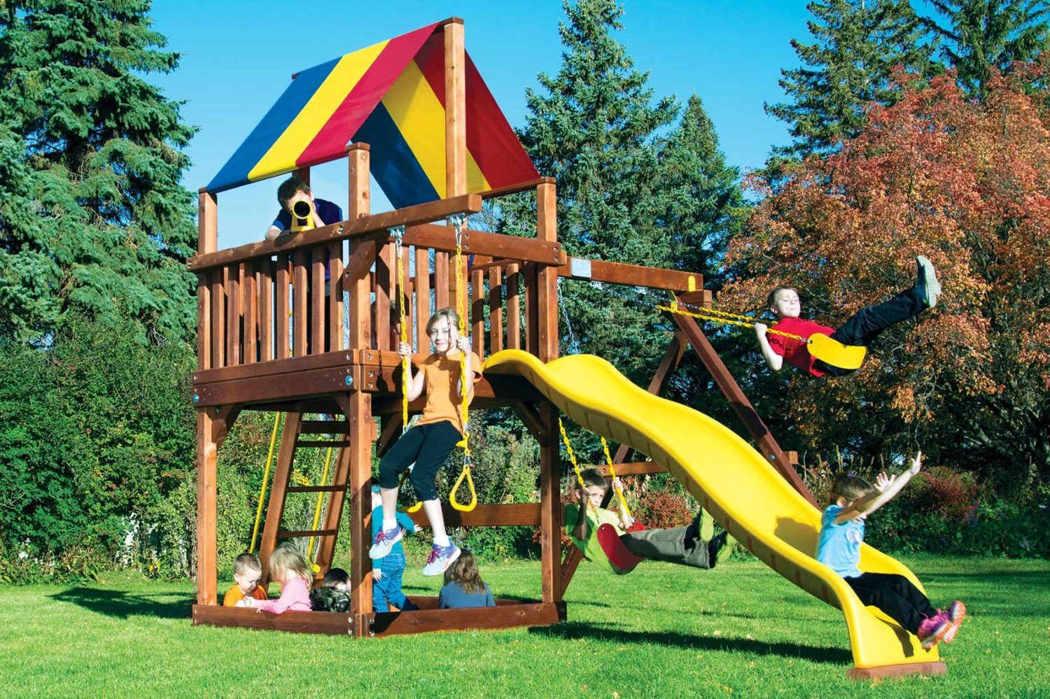Carnival Base Clubhouse Pkg II Wooden Swing Set